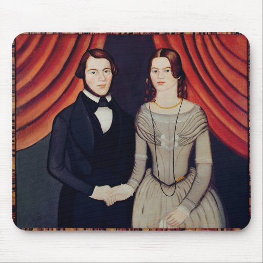 Portrait of Newly-weds Mouse Pads