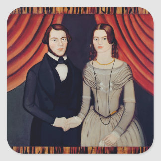 Portrait of Newly-weds Square Sticker