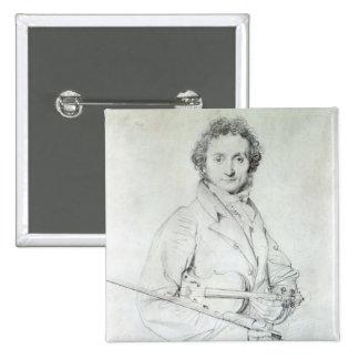Portrait of Niccolo Paganini  1819 15 Cm Square Badge