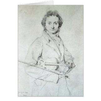 Portrait of Niccolo Paganini  1819 Greeting Card
