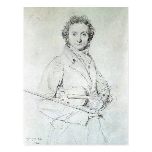 Portrait of Niccolo Paganini  1819 Post Card