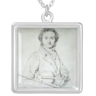 Portrait of Niccolo Paganini  1819 Silver Plated Necklace