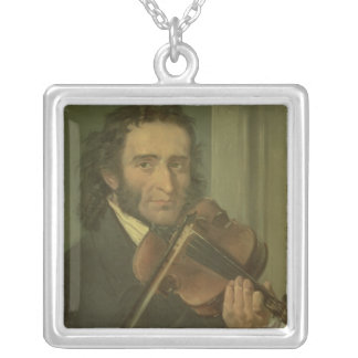 Portrait of Niccolo Paganini Square Pendant Necklace