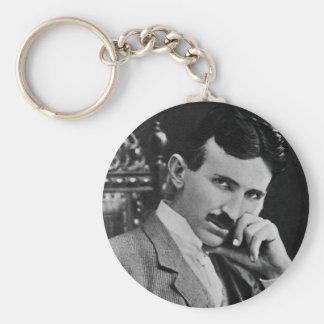 Portrait of Nikola Tesla Basic Round Button Key Ring
