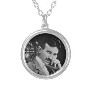 Portrait of Nikola Tesla Silver Plated Necklace