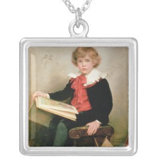 Portrait of Norman Stewart Davies Silver Plated Necklace