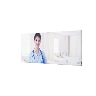 Portrait of nurse in hospital canvas print