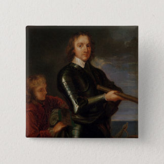 Portrait of Oliver Cromwell 15 Cm Square Badge