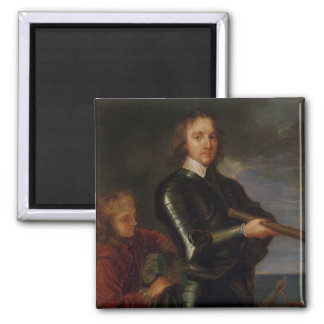 Portrait of Oliver Cromwell Square Magnet