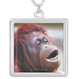 Portrait of orangutan silver plated necklace
