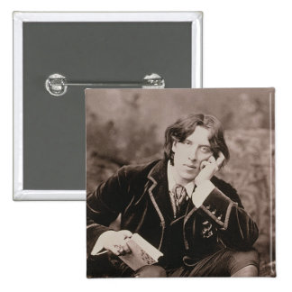 Portrait of Oscar Wilde (1854-1900), 1882 (b/w pho Pinback Buttons