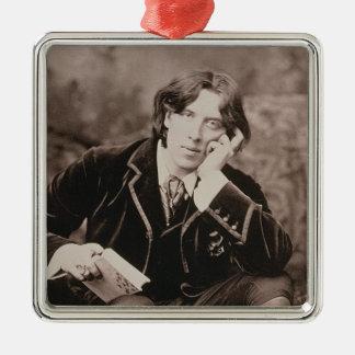 Portrait of Oscar Wilde (1854-1900), 1882 (b/w pho Christmas Ornament