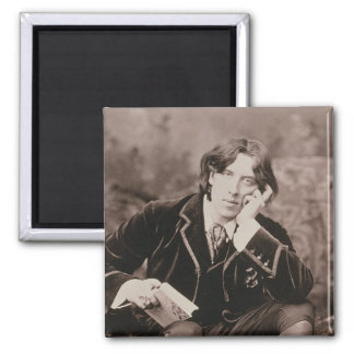 Portrait of Oscar Wilde (1854-1900), 1882 (b/w pho Square Magnet