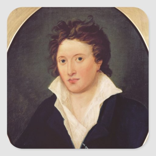 Portrait of Percy Bysshe Shelley, 1819 Square Stickers