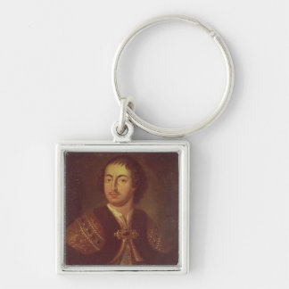 Portrait of Peter I Silver-Colored Square Key Ring