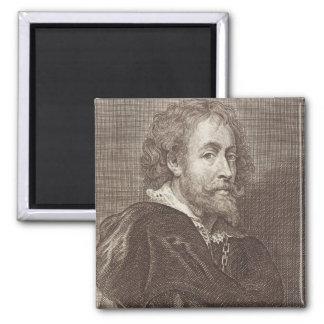 Portrait of Peter Paul Rubens (1577-1640) plate 30 Square Magnet