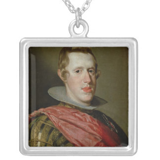 Portrait of Philip IV  in Armour, 1628 Silver Plated Necklace