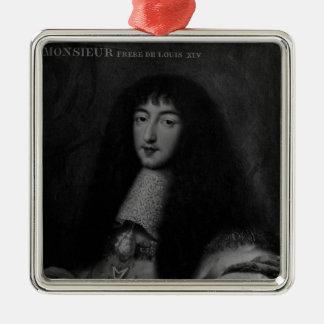 Portrait of Philippe  Duc d'Orleans Silver-Colored Square Decoration