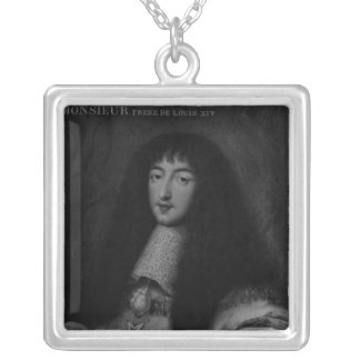 Portrait of Philippe  Duc d'Orleans Silver Plated Necklace