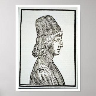 Portrait of Pico della Mirandola (1463-94), from ' Poster