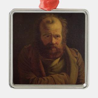 Portrait of Pierre Joseph Proudhon Silver-Colored Square Decoration