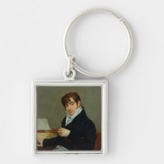 Portrait of Pierre Zimmermann  1808 Silver-Colored Square Key Ring