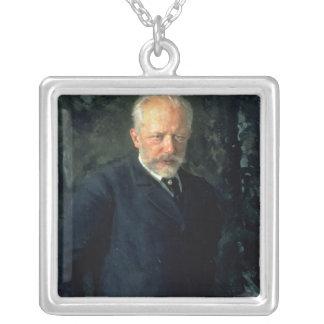 Portrait of Piotr Ilyich Tchaikovsky Silver Plated Necklace