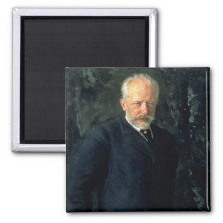 Portrait of Piotr Ilyich Tchaikovsky Square Magnet