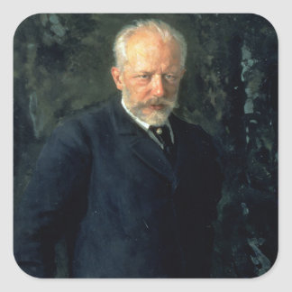 Portrait of Piotr Ilyich Tchaikovsky Square Sticker