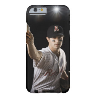 Portrait of pitcher throwing baseball barely there iPhone 6 case