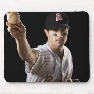 Portrait of pitcher throwing baseball mouse mat