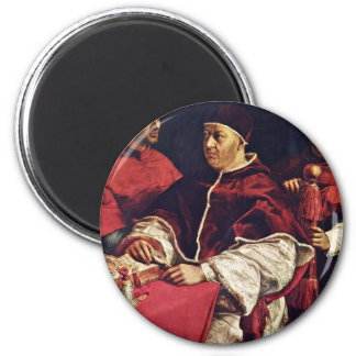 Portrait Of Pope Leo X With His Cousins By Raffael 6 Cm Round Magnet