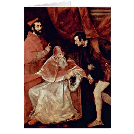 Portrait Of Pope Paul Iii By Titian Greeting Cards