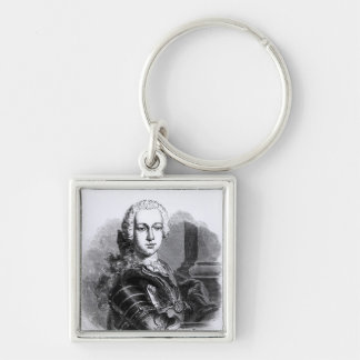 Portrait of Prince Charles Edward Stuart Silver-Colored Square Key Ring