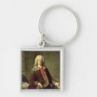 Portrait of Prosper Jolyot de Crebillon , 1746 Silver-Colored Square Key Ring
