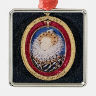 Portrait of Queen Elizabeth I (w/c on vellum) Silver-Colored Square Decoration