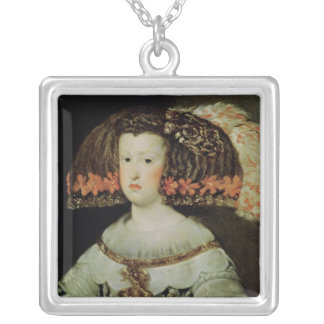 Portrait of Queen Maria Anna  of Spain Silver Plated Necklace