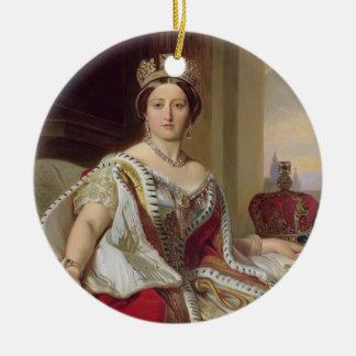 Portrait of Queen Victoria (1819-1901) 1859 (oil o Round Ceramic Decoration