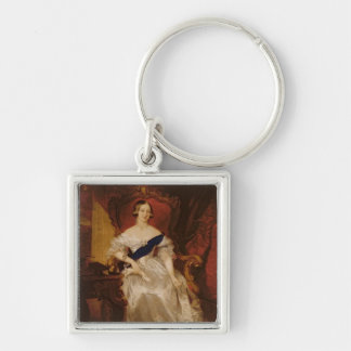 Portrait of Queen Victoria Silver-Colored Square Key Ring