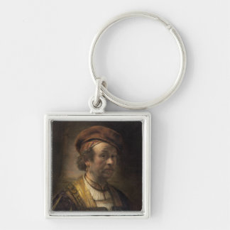 Portrait of Rembrandt, 1650 (oil on canvas) Silver-Colored Square Key Ring