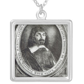 Portrait of Rene Descartes, 1644 Silver Plated Necklace