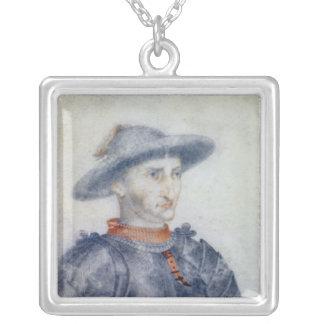 Portrait of Rene I  Duke of Anjou Silver Plated Necklace