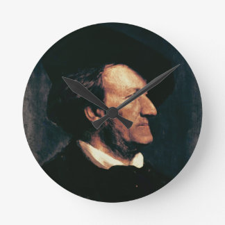 Portrait of Richard Wagner (1813-83) (oil on canva Round Clock