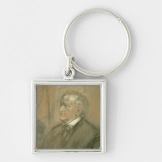 Portrait of Richard Wagner  1868 Silver-Colored Square Key Ring
