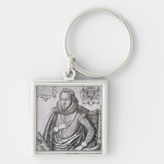 Portrait of Robert Cecil (1563-1612) 1st Earl of S Silver-Colored Square Key Ring