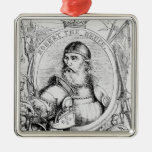 Portrait of Robert the Bruce Silver-Colored Square Decoration
