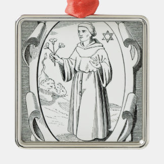 Portrait of Roger Bacon Silver-Colored Square Decoration