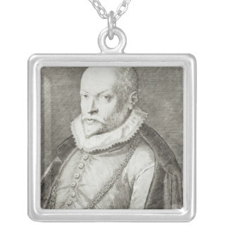 Portrait of Roland de Lassus  1593-94 Silver Plated Necklace