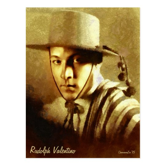 Portrait of Rudolph Valentino Art Postcard