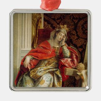 Portrait of Saint Helena Silver-Colored Square Decoration